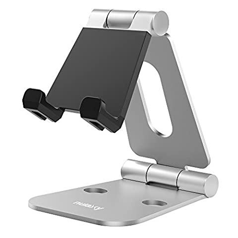 Nulaxy Support Multi-Angles en Aluminium, Support de Voyage Pliable, Support universel avec inclinaison ajustable pour Smartphones, Tablettes, E-readers, iPad, iPhone, Galaxy S6 S7, Note 6,5, LG, Sony,Nexus Apple phones and tablets.--Argent