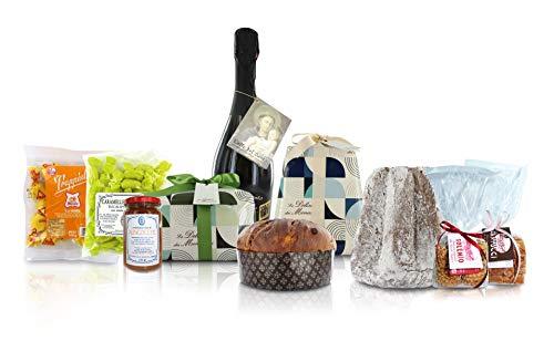Cesto natalizio gastronomico dei monasteri con specialità dolci: panettone, pandoro, prosecco, cantucci, marmellata, caramelle in confezione regalo