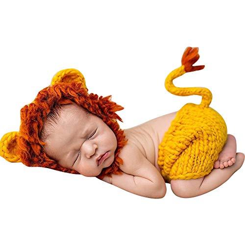 Quge Disfraz Atrezzo De Fotografía Traje para Bebé Recién, Sombrero + Pantalones, León Amarillo
