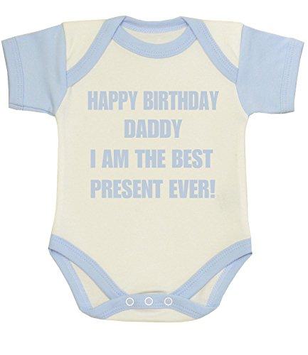 Happy Baby-strampelanzug (BabyPrem Baby Kleidung Body Strampelanzug 'Happy Birthday Daddy Present Ever' 74-80cm BLAU 9-12)