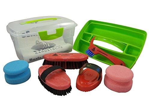 Haas Kinder - Putzbox mit Putzzeug in rot mit Kardätsche Striegel Hufkratzerund Mähnen- und Waschbürste alles wichtige zur Pferdepflege