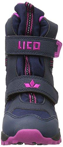 Lico Flemming V, Bottes de Neige Fille Bleu (Marine/Pink)