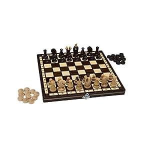 Jeu d'échecs de haute qualité fabriqué à la main en bois pliant pièces d'échecs en bois d'échiquier noble enfants et cassette d'échecs professionnel avec des chiffres sculptés à la main (2w1: 31x31)