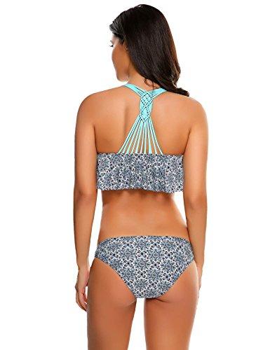 Avidlove Bikini-set Damen Badeanzug mädchen bikini 2017 Neu Fashion Neckholder high waist mit Bauchweg-Effekt Schwimmanzug mit Streifen schwarz rot blau Stil 5: Eisblau