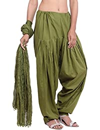 Jaipur Kurti Pure Cotton Olive Green Patiala Salwar And Dupatta Set