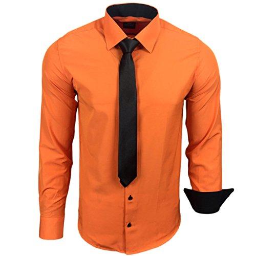 R 44KR Uomo Contrasto Camicia Business camicie con cravatta matrimonio tempo libero Fit Arancione