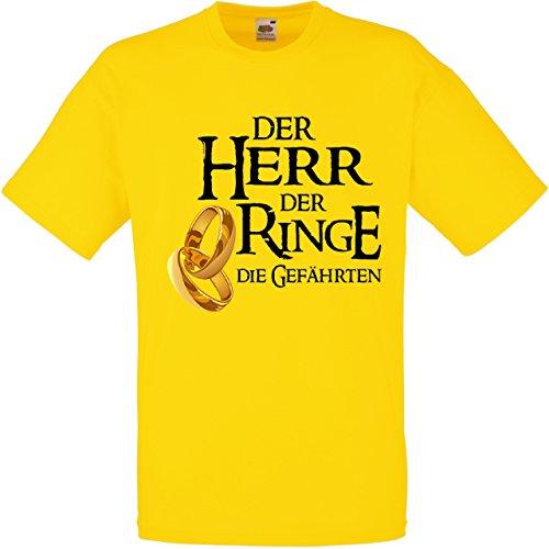 Herren T-Shirt für den Junggesellenabschied mit Motiv Der Herr der Ringe - Die Gefährten (Männer) in gelb, Größe L