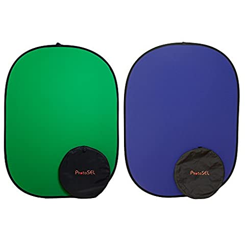 PhotoSEL 1.5mx2m Reversible Collapsible Background Screen - Green/Blue Chroma Key