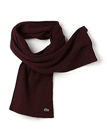 Lacoste Men's Unisex Ribbed Moulin Wool Scarf In Size Taille Unique Burgundy