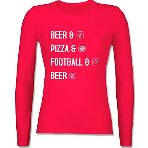 Sonstige Sportarten - Beer Pizza Football Beer - tailliertes Longsleeve / langärmeliges T-Shirt für Damen Rot