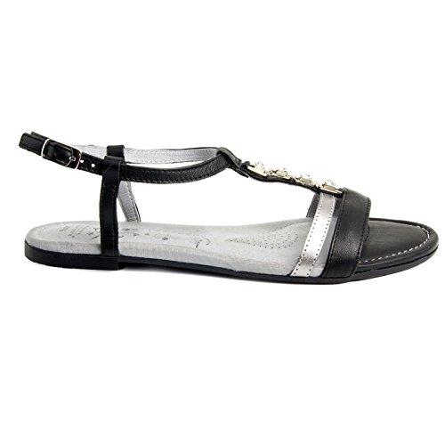 Batz FRESH 43 di Alta Qualità Sandali Estivi con Cinghia Posteriore in Pelle da Donna Nero