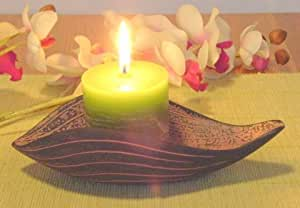 Bougeoir Set de lotus avec bougie parfumée Feng Shui steinfarben Bougie parfumée verte