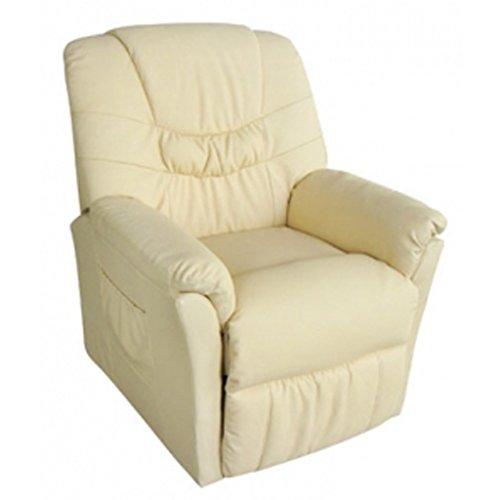 vida XL Massagesessel Fernsehsessel Relaxsessel Massage+Heizung TV Sessel CREME - 2