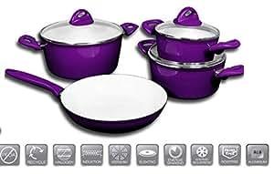 7 tlg topfset keramik beschichtigung kochtopfset kochtopf set pfanne topf sales by jolta lila. Black Bedroom Furniture Sets. Home Design Ideas