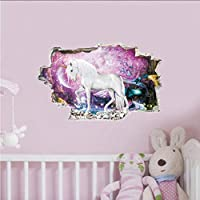 Fagreters 30X48Cm Colorful Unicorn Horse Forest Wall Stickers 3D Break The Wall Effect Picture Setting Sticker Kids Nursery Decals Decor