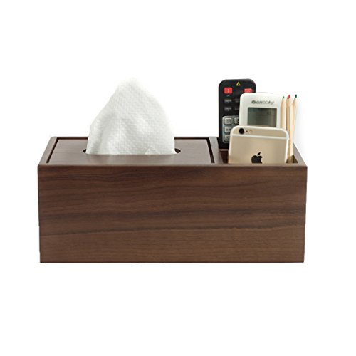 ZH Multifunktionale Holz Tissue Box Holder Schreibtisch-Organisator für Fernbedienung/Bleistift/Telefon Aufbewahrungsbox,Walnuss, 11,5×5,5×4,3 Zoll