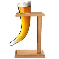 Idea Regalo - Viking-Clacson da birra, in vetro, 17 g, 480 ml di corno vichingo in vetro, a forma di bicchiere da birra, bicchieri Horn