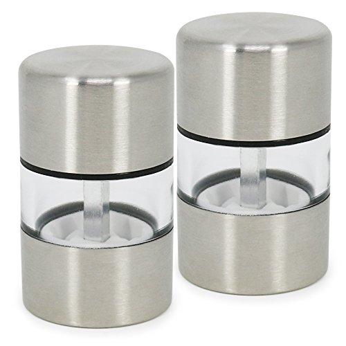 com-four® 2X Mini Salz- und Pfeffermühle aus Edelstahl, Mahlwerk aus Keramik (02 Stück - Mini)