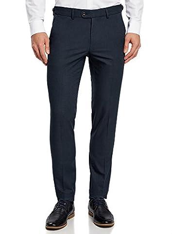 oodji Ultra Herren Baumwoll-Hose Slim Fit mit Verstellbarer Bundbreite, Blau, DE 50 / EU 44 / L