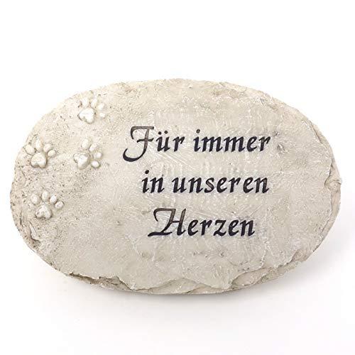 Trauer-Shop Gedenkstein Tier, Grabplatte mit Tier Tatzen. Für Immer in unseren Herzen. Breite 17 cm