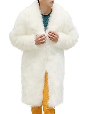 FNKDOR Nuevo Mens Winter Warm Plus Gruesa chaqueta de abrigo largo Parka de piel sintética Outwear Cardigan