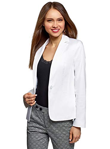 oodji Collection Damen Taillierter Blazer Basic, Weiß, DE 36 / EU 38 / S
