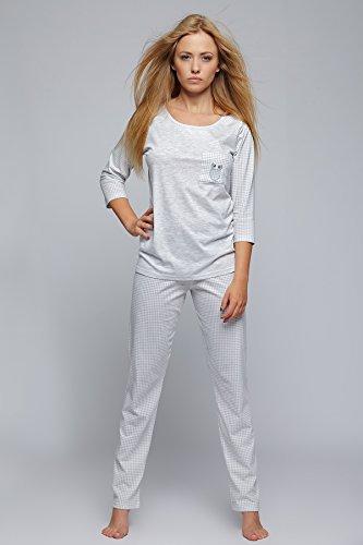 SENSIS stylischer Pyjama Schlafanzug Hausanzug mit karierter Hose, 100% Baumwolle, made in EU Grau/Kariert