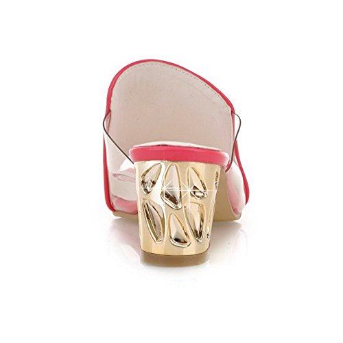 VogueZone009 Femme Ouverture D'Orteil à Talon Correct Pu Cuir Couleur Unie Tire Sandales Rose Tendre