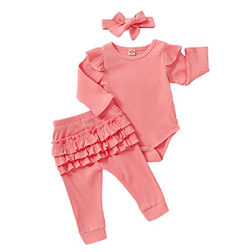 Cwemimifa Baby Outfit Set Mädchen Sommer,Säuglingsbaby-Jungen-Weihnachtsbrief-Spielanzug-Plaid-Hosen-Hut-Weihnachtsoutfits,Schlafanzughosen für Baby-Mädchen,Rosa