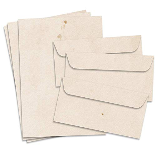Fiesta Cards Vintage Papel de Carta y Sobres, Formato DIN A4(21x 29,7cm) y DIN Largo, gramaje 90-100g/m², Doble Cara, Adecuado para Todas Las impresoras