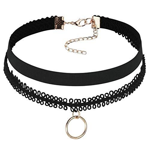 Blisfille Choker Samt Collier Damen Halskette Schwarz Rosegold Lace Kette mit Ring Tattoo Kette Länge 31.5+8.5cm Einstellbar Halsketten - Kostüm Schmuck Reiniger