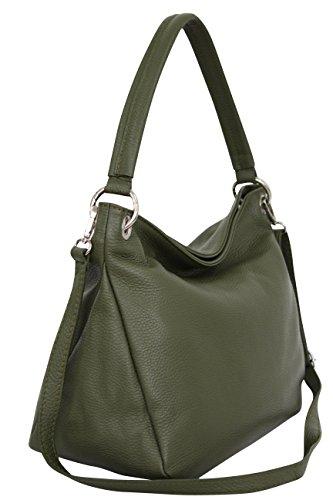 AMBRA Moda Damen echt Ledertasche Handtasche Schultertasche Beutel Shopper Umhängtasche GL002 Viele Farben (Oliv Grün)