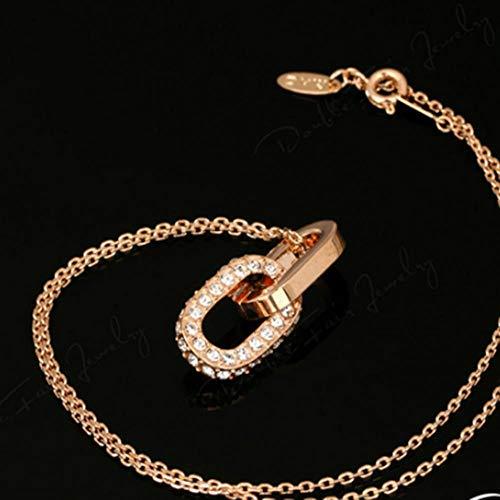 BSDN01 Zirkonia Doppelring Silber Halskette und Anhänger Modeschmuck Schmuck