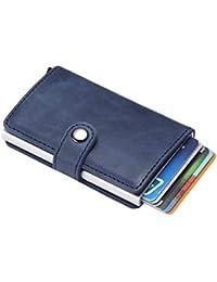 43cd7ab52 Cartera de Tarjeta de Crédito, Cerradura RFID, Bolsillos de Billetera  Multiusos, Aleación de Aluminio + ABS + Cuero de…