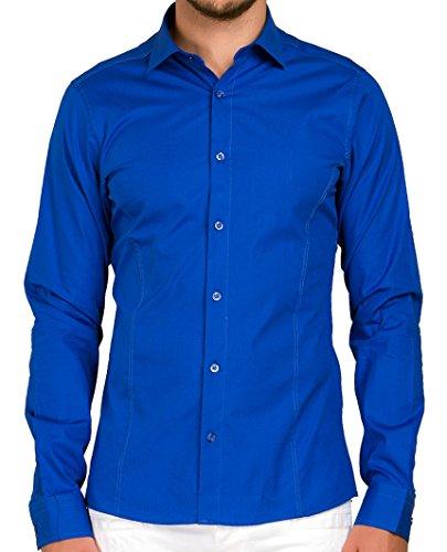 Chemise à Manches Longues Coupe Slim fit Basic Design pour Homme Red Bridge - Bleu - Small