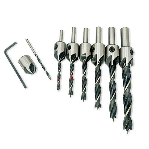 nuzamas 7pcs hss brocas de avellanador cónico carpintería escariador fresa herramienta, 3–10mm pretaladrar brocas de avellanador para tornillos