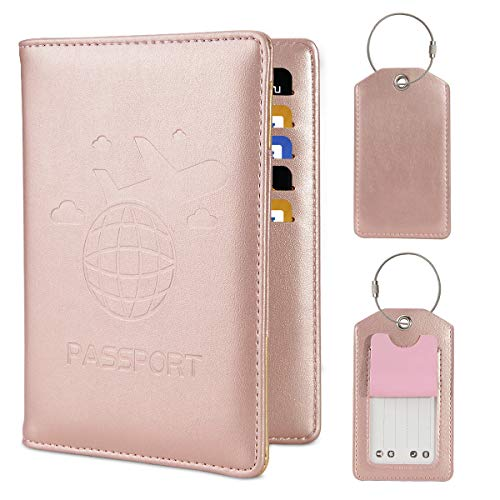 COCASES Reisepasshülle, RFID Schutz Passport Hülle mit 2 Kofferanhänger Set Rosa Gold