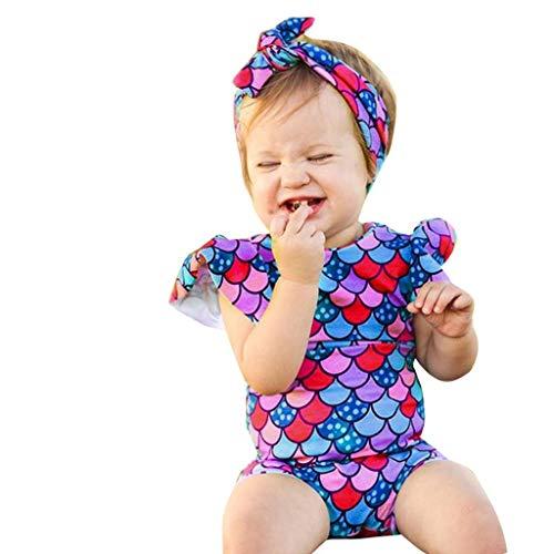 e493e6e840bf 2 pezzi Neonato Infantile Bambino Ragazza Costume da bagno Fishscale con  stampa maniche a pipistrello volanti