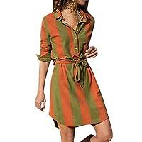 Deelin damesjurk, modieus, casual, gestreept, lange mouwen, met riem, lente, herfst, dagelijks gebruik, blouse - - X-Large
