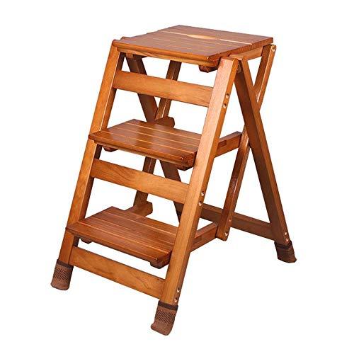 Z-MTYFGZBQ Trittleiter Klappbare 3-stufige Holzleiter Tragbarer Stuhl Haushaltstreppenleiter Trittleiter Verbreiterter Hocker mit Rutschfester Matte Höhe 65,5 cm