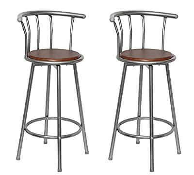 Bar Stool with Back Rest / Rotatable / Set of 2