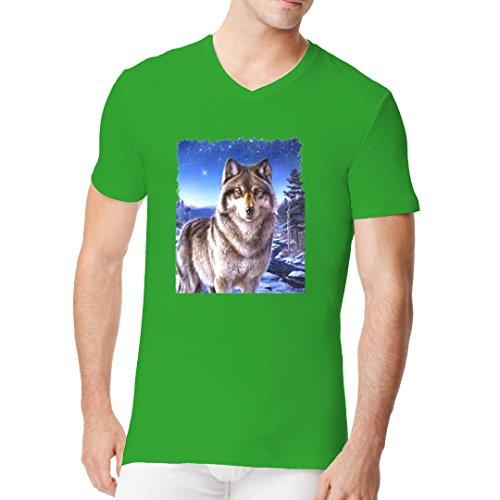 Fun Männer V-Neck Shirt - Wolf im Polarlicht by Im-Shirt Kelly Green