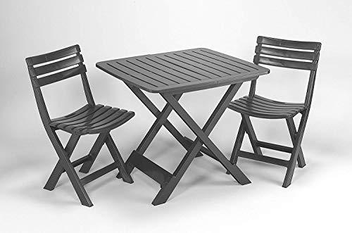 3-teiliges Kunststoff Gartenmöbel Set Camping anthrazit, komplett klappbar, perfekt auch für den Balkon, IPEA Progarden, Made IN Europe (Camping Gartenmöbel)