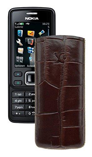 Suncase® Tasche für / Nokia 6300 - 6300i / Leder Etui Handytasche Ledertasche Schutzhülle Case Hülle *Lasche mit Rückzugfunktion* in croco-braun