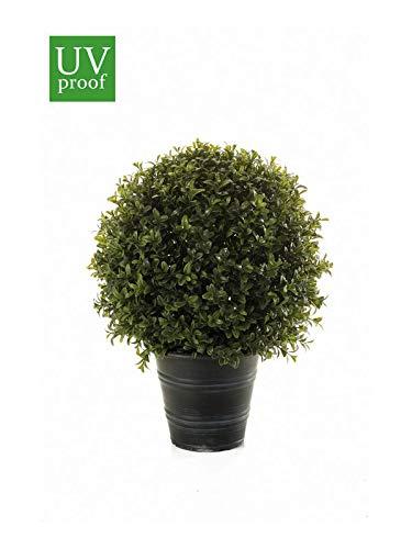 artplants Set 'Kunstpflanze Buchsbaum + Gratis UV Schutz Spray' - Kunstbaum Buchskugel Tom, im Übertopf, uv-sicher, grün, 40 cm, Ø 30 cm