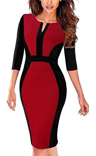 HOMEYEE Damen Vintage 3/4 Ärmel Bodycon Mantel Bleistift Kleid B409 (EU 44 = Size XXL, Rot)