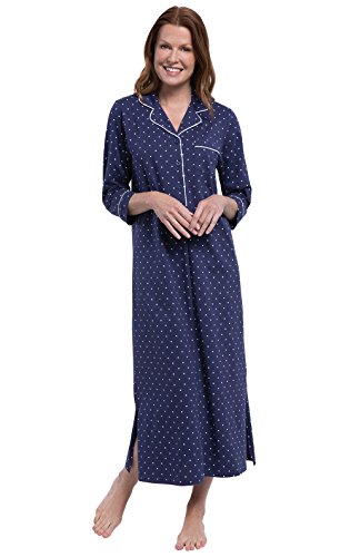 PajamaGram Womens Soft Cotton Pin Dot Nightgown