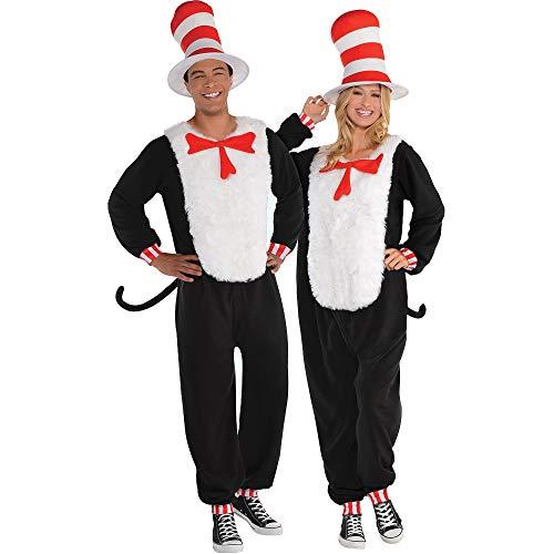 Kostüme USA Dr. Seuss Katze in der Hut Einteiler Halloween Kostüm für Erwachsene, Small/Medium, inkl. Zubehör