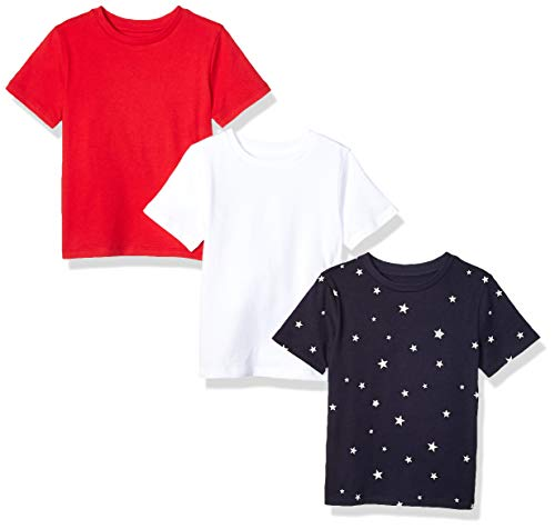 4t Tee (Amazon Essentials 3-Pack Short Sleeve Tee novelty-infant-and-toddler-shirts, Star/Red/White, 4T)