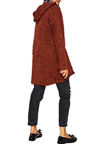 Donnagelia Femme Chandail À Capuche Gilet Cardigan Pull Veste Tricoté Manches Longues Ouvert Avant Élégant Cusual Pour Automne Hiver Vert